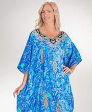 Long Loungers - Sante 100% Polyester One Size Caftan - Lovely Lagoon