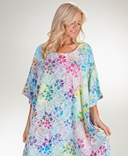 Bali Batiks Short Sleeve Rayon One Size Caftan Lounger - Hibiscus Rainbow