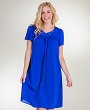 Short Miss Elaine Classics Nylon Short Sleeve Gown in Royal Blue