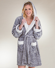 Body Touch Poly Sherpa Short Hooded Wrap Robe in Gray
