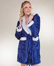 Body Touch Sherpa Hooded Poly Short Wrap Robe in Sapphire