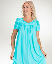 Long Miss Elaine Classics Nylon Short Sleeve Nightgown in Vivid Aqua