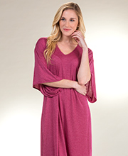 Natori Short Sleeve Poly Rayon Knit Long V-Neck Caftan in Mulberry