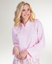 Miss Elaine Lightweight Poly Blend Snap Front Bed Jacket  - Diamond Pink