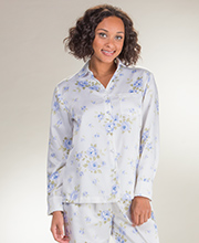 Carole Hochman Pajamas  - Brushed Back Satin PJs In Ivory Cascade