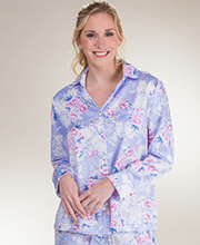 Carole Hochman Pajamas  - Brushed Back Satin PJs In Peri Cascade