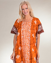 Cotton Caftans - One Size Long Kaftans in Pumpkin Paisley