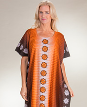 Long Loungers - 100% Cotton One Size Caftan in Ginger Pinwheels
