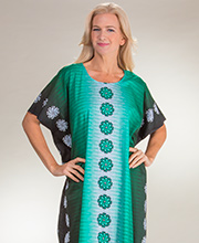 Kaftans - Long One Size Cotton Caftan Loungers in Green Pinwheels
