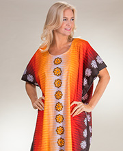 100% Cotton One Size Long Caftan Loungers in Mandarin Pinwheels