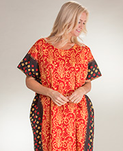 Long Cotton Caftans - One Size Loungers in Fire Maze