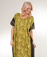 Caftans in 100% Cotton - One Size Lounger in Olive Maze
