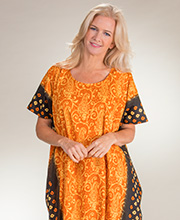 Caftans - One Size 100% Cotton Long Loungers in Orange Maze
