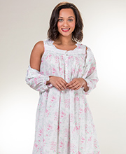 Robe & Gown Set - Eileen West Sleeveless Cotton Lawn Peignoir Set - Country Rose