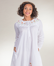 Women's Plus Sleepwear 1X to 4X - Soft & Easy Long Sleeved White Cotton Nightgown -  Red Rose Embroi