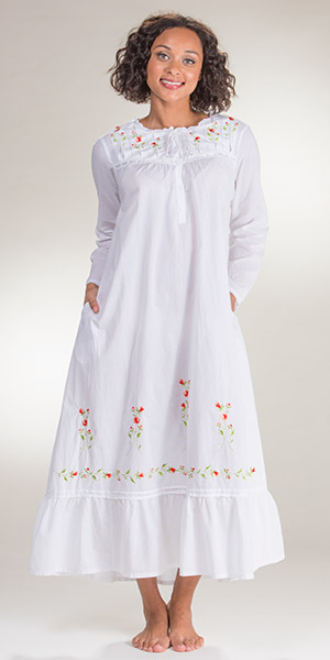4c23199ef8 Long Sleeved Ballet La Cera White Cotton Gown - Red Rose Embroidered
