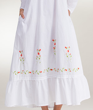 0eeaaaae2d1 Long Sleeved Ballet La Cera White Cotton Gown - Red Rose Embroidered