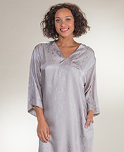"Natori Caftans - Satin Charmeuse Kaftan from ""N"" by Natori - Silver Sparkle"