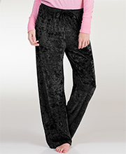 Loungewear Bottoms - Body Touch Crushed Velour PJ Pants in Black