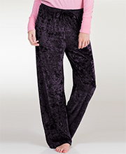 Body Touch Pajama Bottoms - Crushed Velour Loungewear Pants in Deep Purple