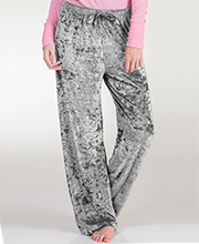 PJ Bottoms - Body Touch Crushed Velour Loungewear Pants in Silvery Gray
