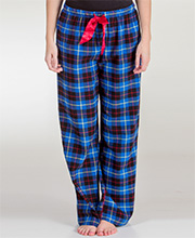 KayAnna Cotton Flannel Pajama Pants in Blue Plaid