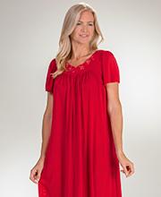 Miss Elaine Classics Nylon Short Sleeve Long Nightgown in Garnet 7819fd508