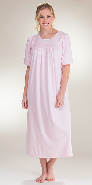 Cotton Nightgowns by Calida - Knit Short Sleeve Nightgown in Pink 2242c92d7
