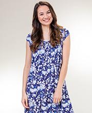 cef9cfa371 Eileen West Modal Knit Cap Sleeve Nightgown in Nightfall Floral