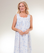Eileen West Long Sleeveless Cotton Lawn Nightgown in Dreamy Blue