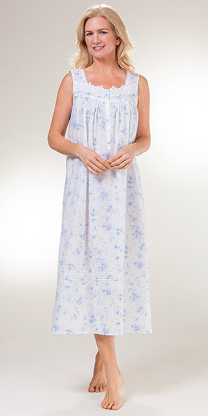 abedf8c29616 Eileen West Long Sleeveless Cotton Lawn Nightgown in Dreamy Blue