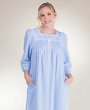 002cb0af41 Miss Elaine Seersucker Robes - Long Zip Front Smocked in Blue Stripe