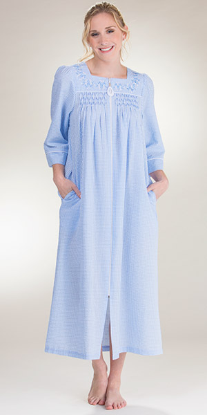 Miss Elaine Seersucker Robes - Long Zip Front Smocked in Blue Stripe 5215835b1