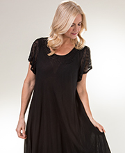 One Size Long Cotton Cap Sleeve Sun Dress in Black