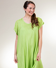 One Size Dresses - Cotton Cap Sleeve Long Dress in Lime