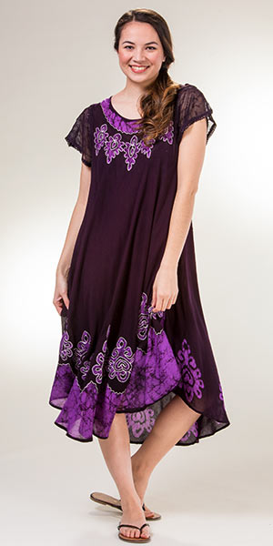 Cotton Beach Dresses - One Size Cap Sleeve in Violet Charms
