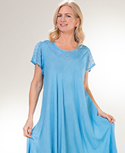 Women's Cotton Cap Sleeve One Size Long Sundresses in Sky Blue