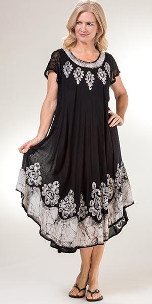 Women\'s Cotton Dresses - Plus Size Cotton Cap Sleeve Dress in White Charms