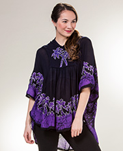 Easy Fit Poncho Top - Cotton V-Neck in Purple Palms
