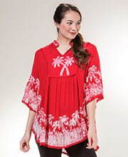 Cotton Poncho Top - Easy Fit V-Neck Top in Red Palms