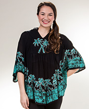Poncho Style Top - Cotton Easy Fit Top in Seafoam Palms