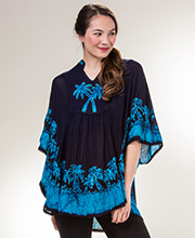 Cotton V-Neck Top - Easy Fit Poncho Top in Turquoise Palms