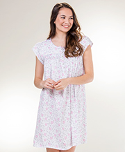 Eileen West Cotton Knit Cap Sleeve Short Nightgown in Floral Stitch