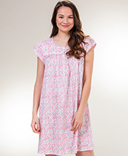 Eileen West Cotton Knit Round Neck Short Nightgown in Potpourri Pink