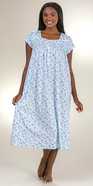 Eileen West Cotton Knit Square Neck Mid Nightgown in Flowery Blue 25a3cb5c8