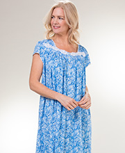 Eileen West MicroModal Knit Cap Sleeve Nightgown in Floral Seaside
