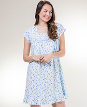 Square Neck Short Eileen West Cotton Knit Nightgown in Flowery Blue
