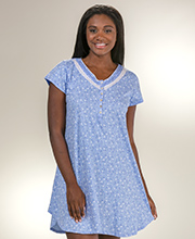 Eileen West Sleepshirt - Cotton Knit V-Neck Short Gown - Blueprint Vine