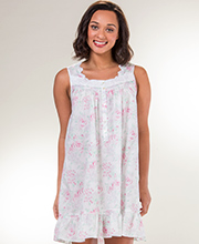 Eileen West Sleeveless Cotton Lawn Short Gown in Country Rose