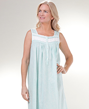 Long Cotton Lawn Eileen West Sleeveless Nightgown in Aqua Paisley